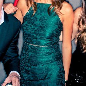 Top Shop Dark Emerald Lace Mini Dress